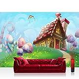 Papel Pintado Fotográfico 200x 140cm Premium Plus–Papel pintado fotográfico pared de pintado de–Dreamland–Papel pintado para habitación infantil cuento Hada Cuento de hadas País Princesa–No. 113