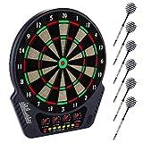Elektronische Dartscheibe Dardboard mit 4 LCD-Anzeige, 6 Dartpfeilen| 27 Spiele mit 243 Spieloptionen Profi Elektronik Dartspiel E Dartautomat