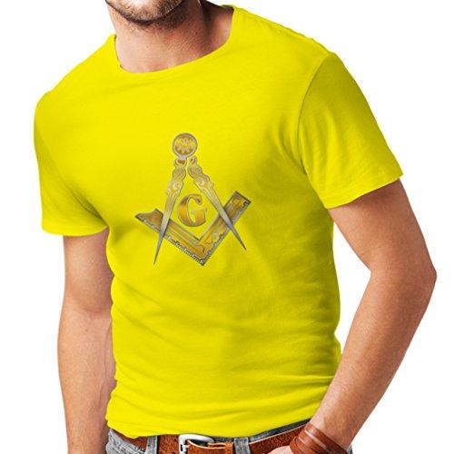 lepni.me Camisetas Hombre Francmasonería - Masón - masónico - símbolo Cuadrado y el compás con G (Small Amarillo