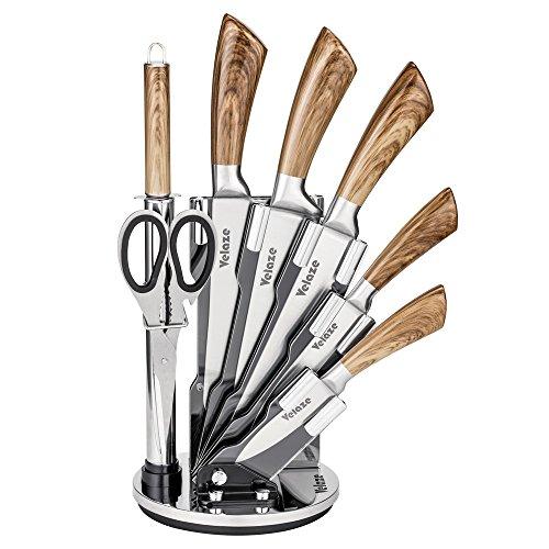 Velaze Set Coltelli, Coltelli Cucina Set 8 Pezzi, Ceppo Coltelli, Set di Coltelli Professionali Chef...