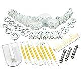 DeliaWinterfel 47 Piezas cortadores de Galletas eyector + Modelado + alisador + decoración de Bordes fondanz mazapán Pasteles by