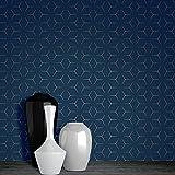 Papier Peint Metro Illusion Géométrique - Bleu Marine et Or - WOW005 World of Wallpaper