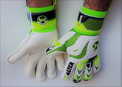 Walter Guanti Portiere (Made in Italy) Professionale, calcio, modello Tiger. (Bianco-Verde, 8)