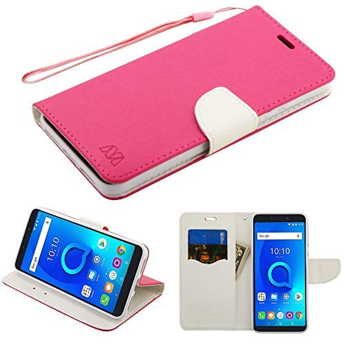 Alcatel Lf 4 in 1 Bundle Premium Pu Leather Flip Wallet Credit Card Cover Case, Stylus, Screen Protector & Wiper for Alcatel One Touch Fierce 2 7040t, (Tracfone / Net10) Pop Icon A564c (Wallet Pink)