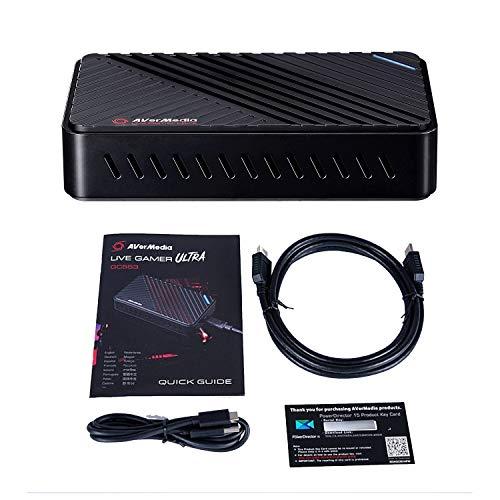 AVerMedia Live Gamer Ultra, Boîtier d'Acquisition Vidéo et de Streaming USB3.1, Pass-Through 4Kp60 HDR, Très Faible Latence, Enregistre jusq... 25