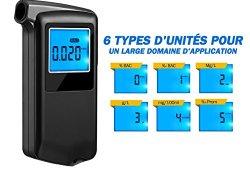 OMORC Éthylotest Numérique avec 6 Modes d'unités, Alcootest avec Écran LCD Haute Précision à la Fonction d'Enregistrement de Résultat de Test (20 Embouts inclus) Magasin en ligne