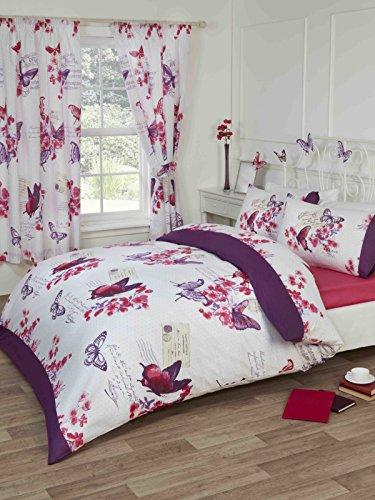 """Home Signature Parisina Mariposas habitación en una Bolsa edredón de sábana Bajera Ajustable 66""""x 182,88cm Cortinas sin Forro Color Morado"""