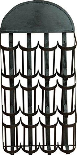 Porta bottiglie a muro in ferro battuto finitura nera anticata L42xPR17xH84 cm