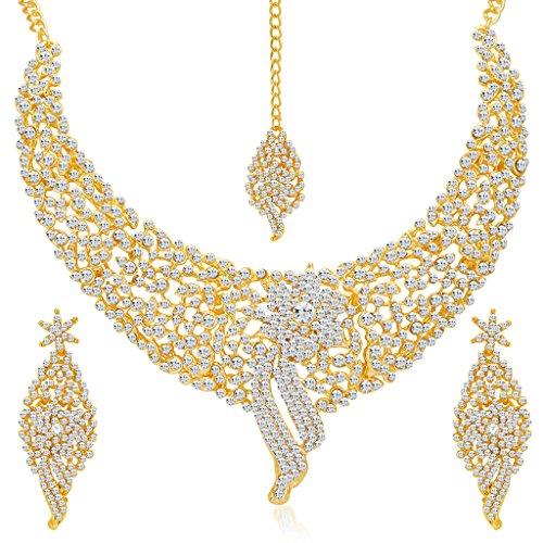 Sukkhi Gold Plated Australian Diamond Choker Necklace With Drop Earrings And Mangtikka Set For Womesn
