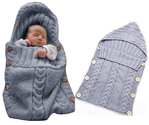 Neugeborenes Baby Gestrickt Wickeln Swaddle Decke Schlafsack für 0-12 Monat Baby (grey)