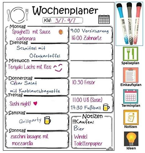 Magnetischer Wochenplaner, Magnettafel für Küche, Menüplaner, Weekly Menu Planer, nützliches Notizbrett für Einkaufsliste, 405 x 305 mm