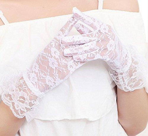 Wilotick - Sexy guanti in pizzo da donna con fiori, guanti da matrimonio, da sera, da festa, da...