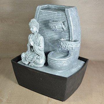 Zen'Light Fontaine d'Intérieur Mur Bouddha Méditation, Plateado, 20 x 15 x 24 cm 5