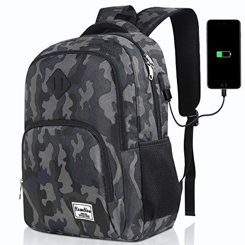 Herren Rucksack,Schulrucksack Jungen Teenager mit mit USB-Ladeanschluss für Reisen Camping Schule Arbeit Büro