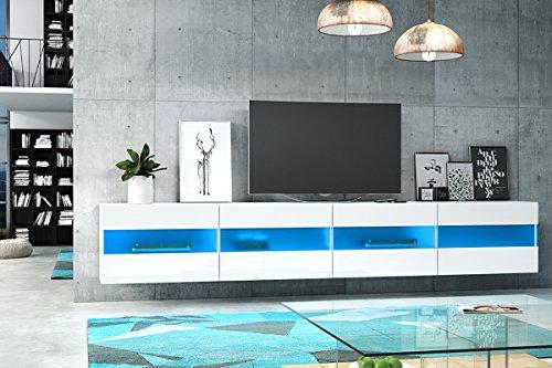 Brico Double - Mobiletto Porta TV Sospeso / Supporto TV Sospeso a Parete (200 cm, Bianco Opaco /...