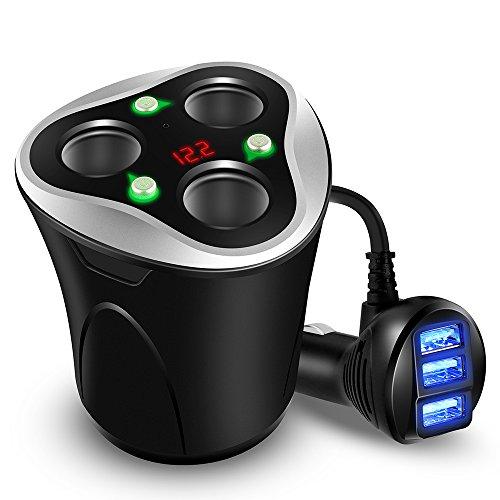 Caricabatterie per Auto 3 USB Adattatore + 3 sockets Accendisigari Divisore Portabicchieri Spina...