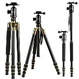 K&F Concept TM2534 Stativ Reisestativ Kamerastativ mit 3D Kugelkopf Einbeinsativ-Funktion für Canon Nikon Petax Sony 42-162cm