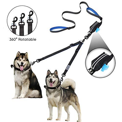YOUTHINK Doppel-Hundeleine, Keine Verwicklung-Hundeleine 2 Hunde bis 180kg, bequem verstellbare, Zwei gepolsterte Griffe, Bonus-Haustierabfallsack