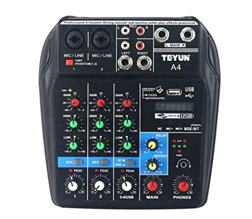 Black Dragon Audio Mixer 4 Channel With USB Port With Phantom Power 48V
