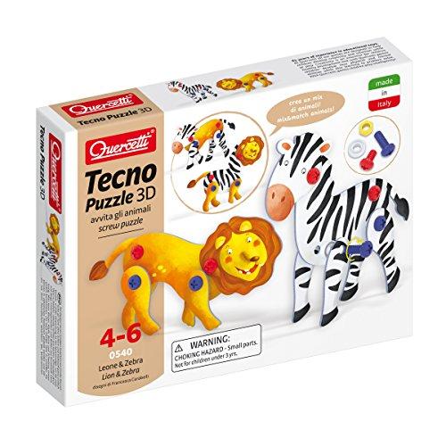 Quercetti 0540 - Tecno Puzzle 3D Leone & Zebra