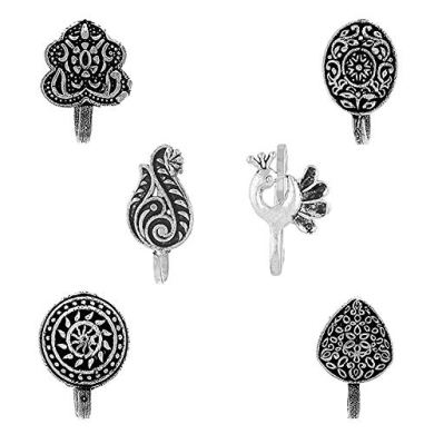 Om Jewells Silver Oxidised 6 Pc Combo of Designer Indo Western Press on Nose Pin/Nose Ring for Girls and Women CO1000178 8
