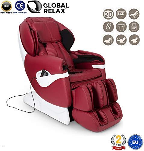 NATALE -200€ I SAMSARA Poltrona massaggiante Shiatsu 2D - Rosso (modello 2019) - Poltrona massaggio con posizione di Gravità Zero - Poltrona relax con sistema Zero Spacio - 2 Anni di Garanzia
