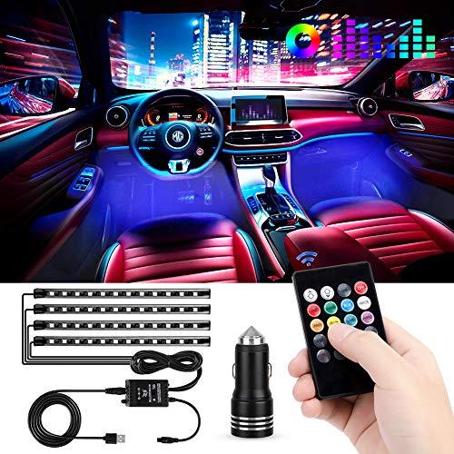 Striscia Luce Interni per Auto con 48 Led RGB, 4 Barre Striscia LED Auto 8 Colori, Illuminazione...