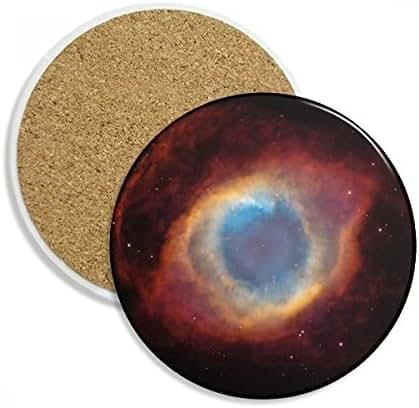 DIYthinker Rot Blue Planet Stern Nebulae Ceramic Coaster-Schalen-Becher-Halter Absorbent Stein für Getränke 2ST Geschenk Mehrfarbig
