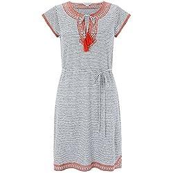 Monsoon Damen Sana besticktes Leinen-Kleid mit Streifenmuster - 46