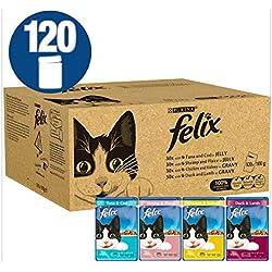 Felix Cat Food Gelatina mista e sapori di sugo 120 x 100 g (120 buste)