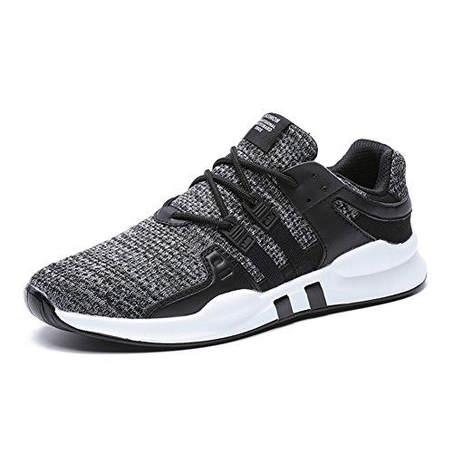 Men's Running Shoes Lightweight Sports Trainers Gym Walking Trainers Fitness for Men/Women,BlackGrey,10 UK