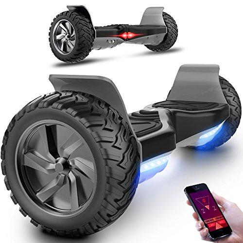 Markboard gyropode Hummer 8.5 pouces, Gyropode SUV Tout-Terrain 700W, Fonction App, Bluetooth et LED, Smart Scooter Électrique Auto-équilibrage(camouflage/vert militaire)