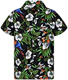 V.H.O. Funky Chemise Hawaienne, Cherry Parrot, Black, L