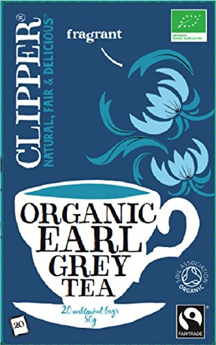 Clipper Fairtrade organic earl grey tea (fairtrade, soil association) (black tea) (earl grey) (20 bags) (a fruity tea with aromas of bergamot) (brews in 2-4 minutes)