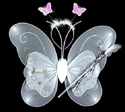 Conjunto de 3 mariposas para disfraz de hada para niños: alas de mariposa, varita y diadema