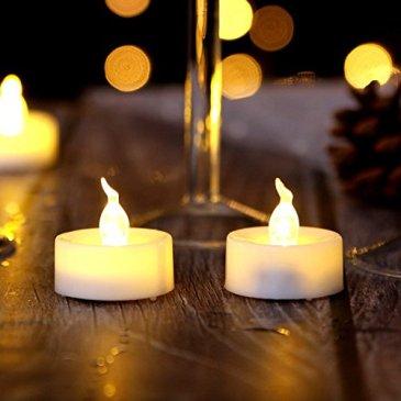 AGPTEK Lot de 100 Réaliste et Clair à Piles Vacillant sans Flammes Bougie Chauffe-plat del Bougie Decoration pour Mariage Noël Halloween,électrique fausse bougie avec Batteries inclus- Blanc Chuad