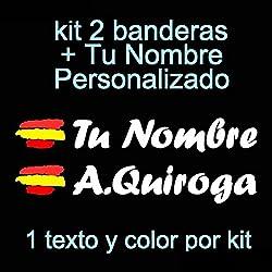 Vinilin Pegatina Vinilo Bandera España + tu Nombre - Bici, Casco, Pala De Padel, Monopatin, Coche, Moto, etc. Kit de Dos Vinilos (Blanco)