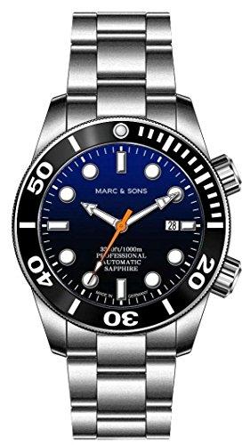 Marc & Sons 1000m automatico Diver orologio blu, vetro zaffiro, Elio valvola in ceramica, lunetta, Diver