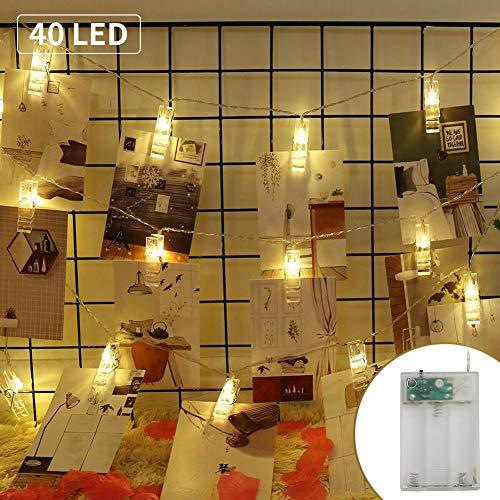 LED Clip Foto, MANLI Luci con Mollette 5m 40 LED a Batteria Porta Foto Polaroid Filo Lucine...