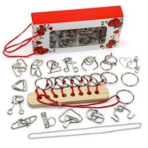 Gracelaza 16 Piezas Juguetes Mágicos de Alambre de Metal Set - 3D Rompecabezas Brain Teaser Puzzle - IQ Inteligencia…