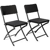 Vanage Gartenstuhl in schwarz - klappbare Gartenstühle im 2er Set - hochwertige Klappsessel in Rattanoptik - Hochlehner - pflegeleichter Klappstuhl