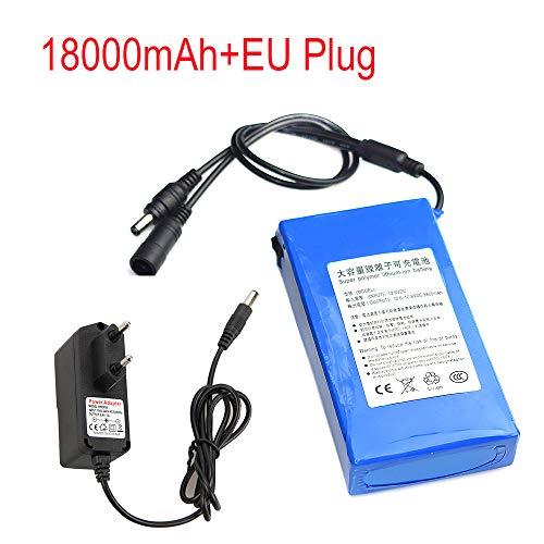 Zolimx DC 12V 6800-18000Mah Super Recargable Li-Ion Batería de Litio Pack + EU Plug (12V-18000mAh)