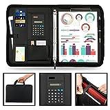 Wilbest porte documents en cuir multifonctionnel dossier de conférence de A4 avec la calculatrice et les poignées magnétiques pliables, entièrement zippé, preuve de l'eau