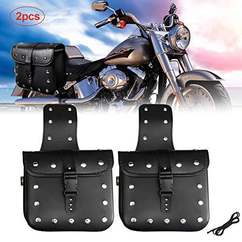 xuanyang524 Paar Motorrad Satteltasche Set, Große Kapazität Leder PU Wasserdichte Seitentasche für Harley Sportster Softail Honda Suzuki Yamaha Cruiser
