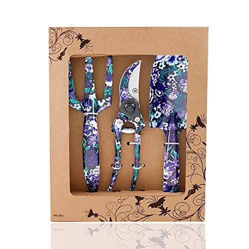 FLORA GUARD herramientas de jardinería 3 piezas, incluye Cultivador, Pala, Tijeras de podar, gran regalo para jardineros