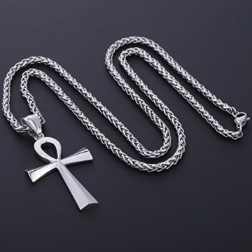 Trendsmax Hombres Mujeres Unisex Tono De Plata De Acero Inoxidable Egipcio Ankh Cruz De La Vida Egipto Símbolo Colgante Collar 15