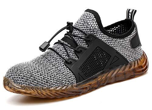 tqgold Sicherheitsschuhe Herren Damen S3 Arbeitsschuhe Schutzschuhe mit Stahlkappe Summer Comfortable Atmungsaktiv Leichtgewicht Sneakers Unisex(Grau,Größe 43)