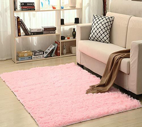 "MAISY Anti Skid Fluffy Warm Plush Carpet Faux Fur Mats for Living Room Home Floor Kids Room Bedroom Area Rug (Pink, 60x160cm/23.62""x62.99"")"