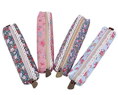 Cosanter, 4 astucci carini di tela, con motivi a fiore, per ragazze, per cancelleria e cosmetici