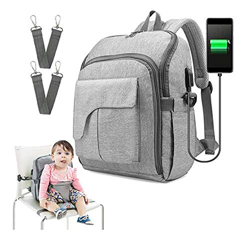 Arkmiido Baby Diaper Bag Travel Backpack with Baby Chair, USB Charging Port
